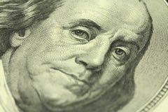 Часть деноминации 100 долларов с портретом Бенджамина Франклина Стоковые Изображения RF