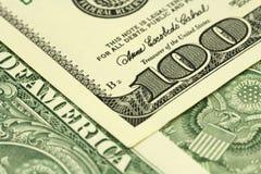 Часть деноминации 100 долларов Стоковые Изображения