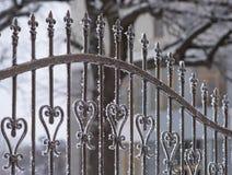 Часть загородки от ковки чугуна День зимы снежный Стоковая Фотография RF