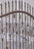 Часть загородки от ковки чугуна День зимы снежный Стоковые Фотографии RF