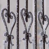 Часть загородки от ковки чугуна День зимы снежный Стоковая Фотография