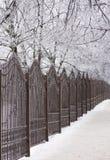 Часть загородки от ковки чугуна День зимы снежный Стоковое Фото