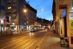 Часть Загреба перед ночой Стоковая Фотография