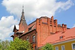 Часть здания бывшей немецкой психиатрической клиники 1902 Gvardeysk, область Калининграда Стоковые Фотографии RF