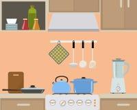 Часть интерьера кухни в оранжевом цвете Стоковое Фото