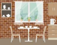 Часть интерьера кухни на предпосылке кирпичной стены иллюстрация вектора