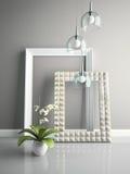 Часть интерьера при стильные рамки 3D представляя 3 Стоковые Фото