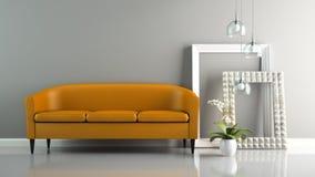Часть интерьера с оранжевой софой и стильным renderi рамок 3D Стоковая Фотография RF