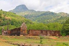 Часть идти дождь Vat Phou, также написанная Wat Phu, мир Heri ЮНЕСКО Стоковое Фото