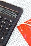 Часть калькулятора и кредитной карточки Стоковые Фото