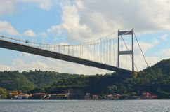 Часть, который кабел-остали моста над Bosphorus после обеда стоковое фото rf