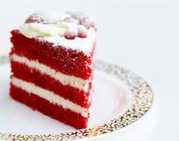 Часть красного торта бархата стоковая фотография