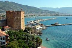 часть крепости свободного полета столетия замока alanya обнаружила местонахождение среднеземноморского индюка верхней части моря  Стоковая Фотография RF