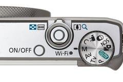 Часть крупного плана цифровой фотокамера (управление кнопки) Стоковые Изображения RF