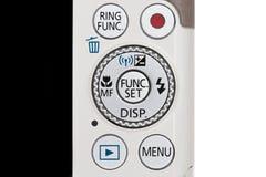 Часть крупного плана цифровой фотокамера (управление кнопки) Стоковое Изображение RF