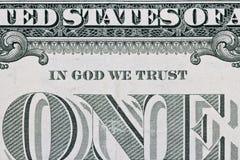 Часть одного примечания доллара Стоковая Фотография RF