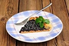 Часть домодельного galette vegan с одичалой голубикой на сини plat Стоковая Фотография RF