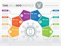 Часть отчета с логотипом и установленных значков Вектор infographic o Стоковые Фотографии RF