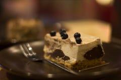 Часть очень вкусного торта с голубиками Стоковая Фотография RF
