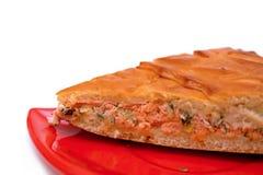Часть пирога рыб на красной плите Стоковое Фото