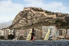 Часть плавания флота VOR после ноги 1 Аликанте-Лиссабона старта Стоковая Фотография RF