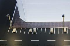 Часть плана улиц города, дорог с автостоянкой автомобиля, зданий Модель города архитектурноакустическая, maquette Стоковые Изображения RF