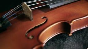 Часть постаретой скрипки на черной предпосылке видеоматериал