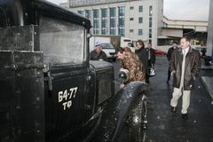Часть ретро старого автомобиля GAZ - AA, известного ` polutorka `, автомобиля Второй Мировой Войны WW2 - СССР 1930 Стоковые Изображения RF