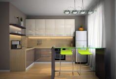 Часть самомоднейшей кухни иллюстрация штока
