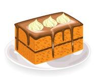 Часть свежего сладкого торта, покрытая с замороженностью шоколада Цветки от сметанообразной сливк украсить очень вкусный продукт  иллюстрация вектора