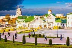 Часть старого городка - холм троицы - исторический центр (Nemiga) Стоковая Фотография RF