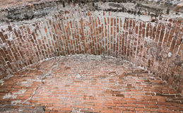 Часть старого свода кирпича Конец-вверх стоковое фото