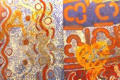 Часть старой аборигенной картины, Австралия Стоковое Фото