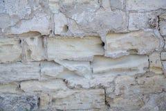 Часть старой каменной стены врем-удостоена Стоковая Фотография