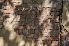 Часть старой кирпичной стены с обмылками гипсолита Стоковое фото RF