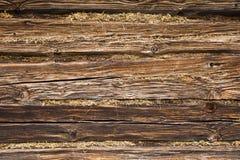 Часть стены старого деревянного здания Стоковые Изображения