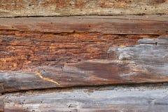 Часть стены сделанной деревянных журналов Текстура, предпосылка Стоковая Фотография RF