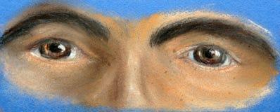 Часть стороны - 2 коричневых глаза иллюстрация штока
