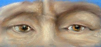 Часть стороны - 2 оранжевых глаза иллюстрация вектора