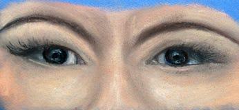 Часть стороны - 2 темных глаза женщины бесплатная иллюстрация