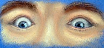Часть стороны - 2 удивленных глаза иллюстрация штока