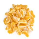Часть съемки конца-вверх tangerines изолированной на белизне Стоковые Изображения