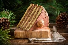 Часть торта грецкого ореха на древесине Стоковые Фото