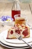 Часть торта клубники на керамической плите Стоковые Фото