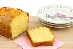 Часть торта масла, куска торта и плит торта Стоковые Изображения