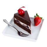 Часть торта шоколада на белой предпосылке Стоковое фото RF