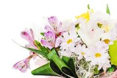 Часть цветастого букета роз, лилий и орхидей Стоковая Фотография RF