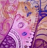 Часть цветастой надписи на стенах Стоковые Изображения
