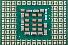 Часть центрального процессора s или конца-вверх компьютера микросхемы стоковые фото
