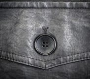 Часть черной кожаной куртки с кнопкой Стоковое Изображение